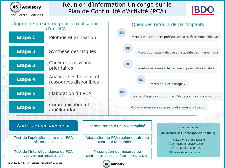 Réunion d'information 4S Advisory - Unicongo sur le Plan de Continuité d'Activité